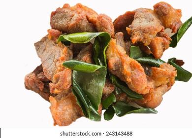 Deep fried pork with leech lime leaf
