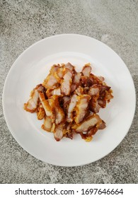 Deep fried  pork on white plate