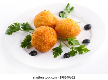 Deep Fried Rice Balls with Salmon and Cream Cheese