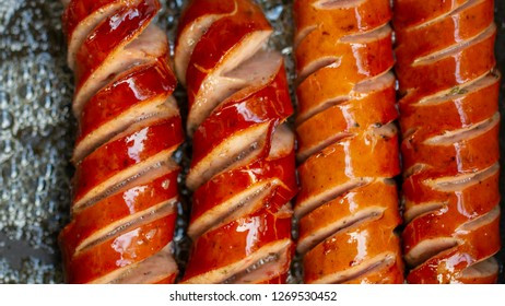 Deep fried sausage on the hot pan