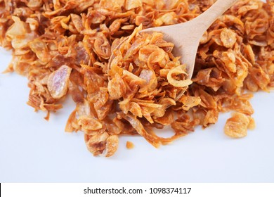 Deep fried shallots on white background