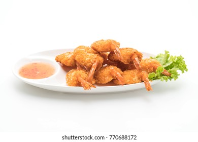 deep fried shrimp isolated on white background