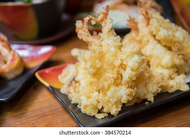 Deep fried shrimp , Tempura - Japanese style food