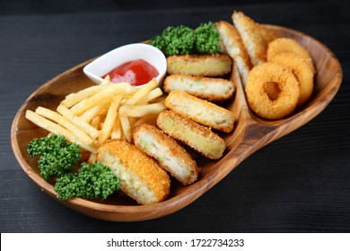 deep fried snack foods plate