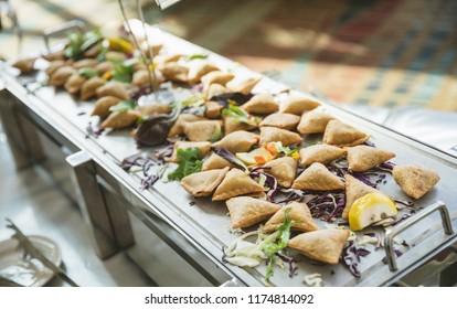 Deep fried snacks chicken samosa