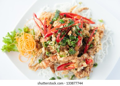 Deep fried soft shell crab. Thai style food.
