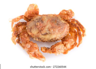 deep fried soft shell crab, soft shell crab fritters isolated on white background