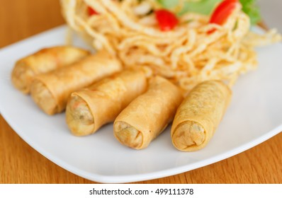 deep fried spring rolls close up