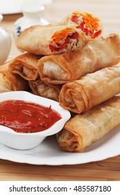 Deep fried spring rolls filled with vegetables