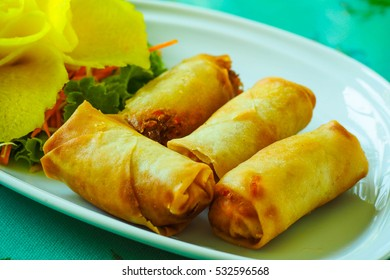 Deep fried spring rolls serve on a white plate.