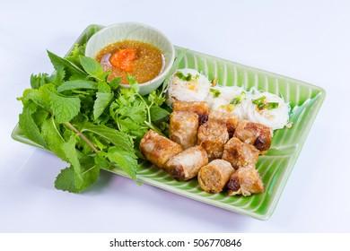 Deep fried spring rolls vegetarian food