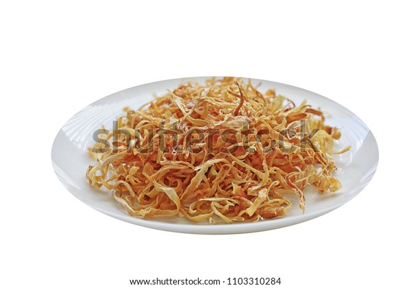 Deep Fried sweet onion on plate isolated over white background