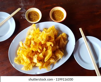 Deep fried wonton with sauce. Asian Style food appetizer.Chinese food,asian food. Soft focus,Select focus