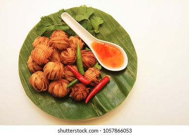 Deep Fried Wrapped Pork with Noodle or Mhoo Sarong is Thai Language