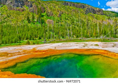Deep green blue geyser pool in yellowstone national park