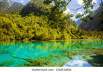 Deep green blue mountain lake with green trees in China