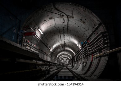 Deep metro tunnel under construction