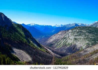 Deep mountain valley with remnants of forest fire. Forest fire one year ago. Burnt forest in the alpine valley in Banff, Alberta. Catastrophic forest fire hit Rockies year ago.