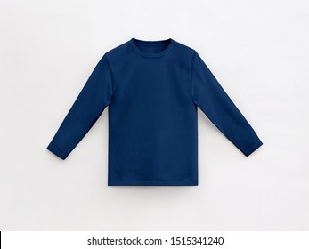 deep navy long sleeve t-shirt for man with round collar