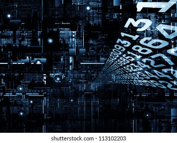 Deep Networking series. Backdrop composed of industrial grunge texture, numbers and dark gradients and suitable for use in the projects on computing, industrial design and modern technology