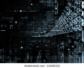 Deep Networking series. Composition of  industrial grunge texture, numbers and dark gradients to serve as a supporting backdrop for projects on computing, industrial design and modern technology