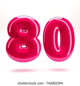 Deep pink glossy celebrate letter number eighty 80bold and uppercase. 3D render font painted with deep pink polish and light reflection isolated on white background with clear shadow