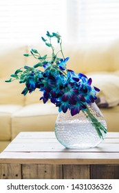 A deep purple blue flower in a vase