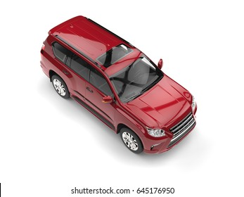 Deep red modern SUV - top down view - 3D Illustration