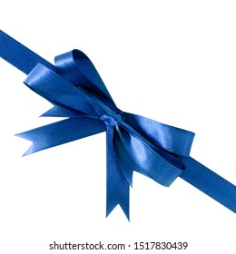 Deep royal blue gift ribbon bow corner diagonal isolated on white.