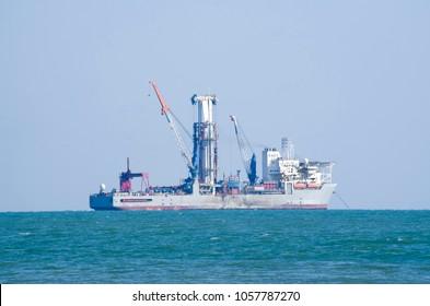 Deep sea drill ship on anchorage in Black Sea
