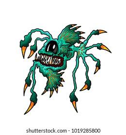 Deep Sea Fish Dragon Monster Angler Illustration Cartoon