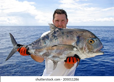 Deep sea fishing. Giant trevally fish