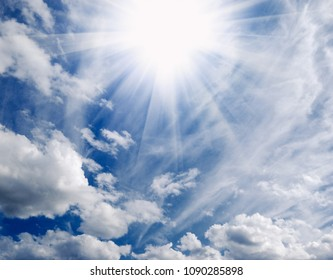 Deep sky with clouds and ethernal shine of saint spirit