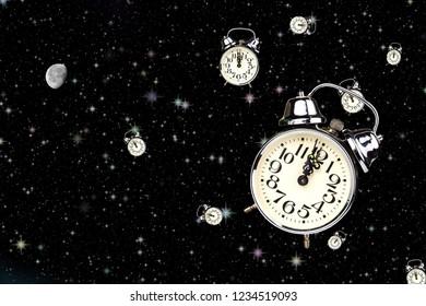 Deep sleep. Midnight on the old alarm clock. Sleep concept. Waiting for midnight. The hour of ghosts
