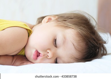 Deep sleeping baby portrait, cute little girl portrait cute