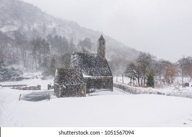 Deep snow in Glendalough , Wicklow Mountains - Ireland