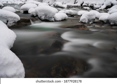 deep snow in the river