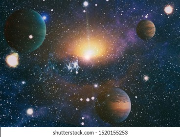 Deep space art. Galaxies, nebulas and stars in universe. Elements of this image furnished by NASA