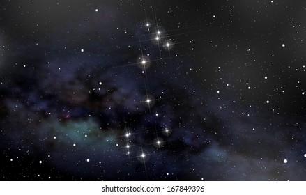 A deep space background with constellation of Scorpion in foreground