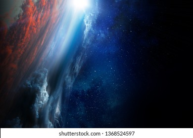 Deep space beauty. Planet orbit.