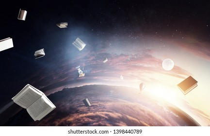 Deep space beauty. Planet orbit and flying books.