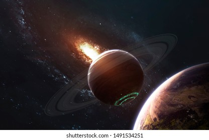 Deep space fantastic planets, galaxy, stars. Elements of this image furnished by NASA