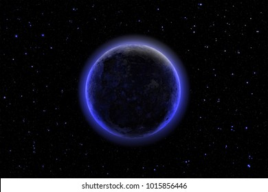 Deep space imaginery, distant dark mysterious planet shining against starry night