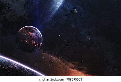 Deep space landscape with realistic planets. Elements of this image furnished by NASA