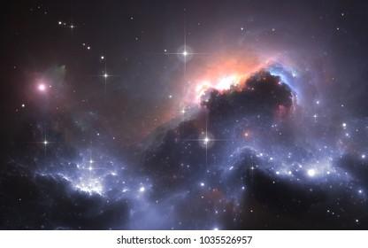 Deep space nebula with stars, 3D illustration