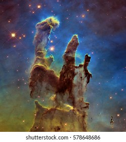 Deep space object: Pillars of creation in Eagle Nebula (M16) in the constellation Serpens, elements of this image furnished by NASA