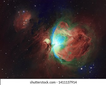 Deep space objects Orion and Running Man Nebula in the constellation Orion. Genuine picture made in variety of HST palette