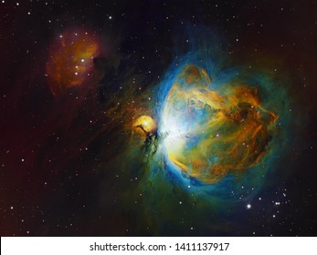 Deep space objects Orion and Running Man Nebula in the constellation Orion, Hubble Space Telescope palette. No NASA content involved. Real narrowband photography.