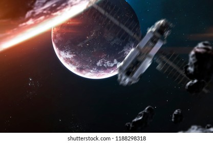 Deep space planets and spacecraft, awesome science fiction wallpaper, cosmic landscape. Elements of this image furnished by NASA
