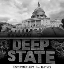 Deep state politics concept and United States political symbol of an underground government bureaucracy with 3D elements.